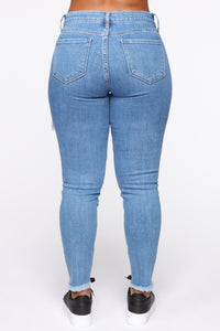Claire Distressed Skinny Jeans - Medium Blue Wash Angle 5