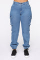 Never Better Cargo Jeans - Light Blue Wash