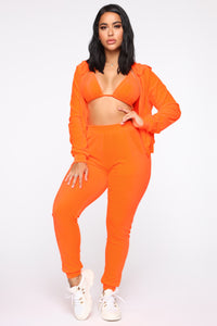 Make It Fashion Velour Jogger Set - Neon Orange
