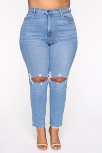 Not Your Mama's Distressed High Rise Jeans - Medium Wash