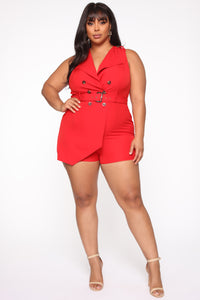 Still Thinking Blazer Romper - Red Angle 5