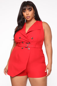 Still Thinking Blazer Romper - Red Angle 7