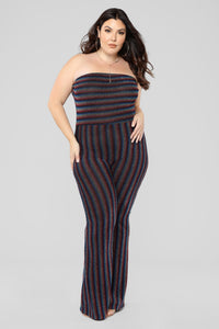 Up And Counting Striped Jumpsuit - Rainbow