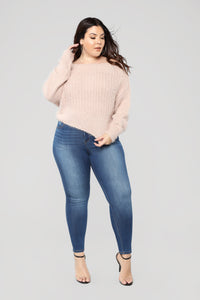 Versailles Off Shoulder Sweater - Blush