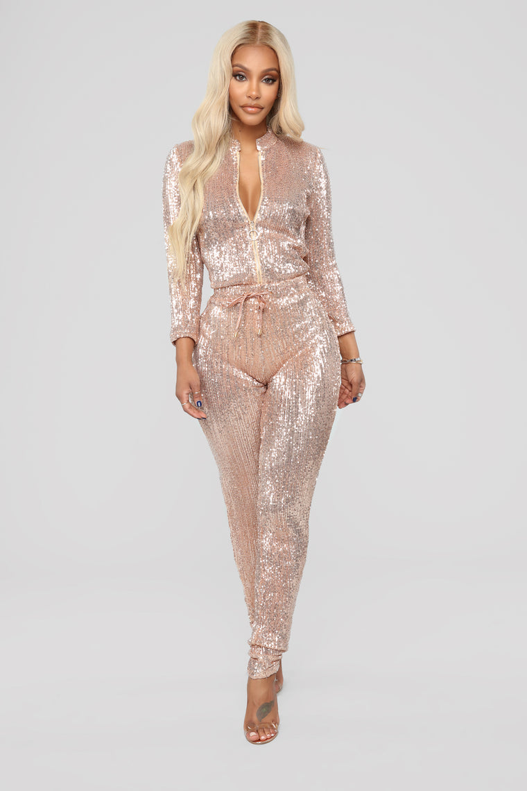 598c1740faf Is This Star Taken Sequin Jumpsuit - Rose Gold
