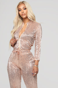 Is This Star Taken Sequin Jumpsuit - Rose Gold Angle 3