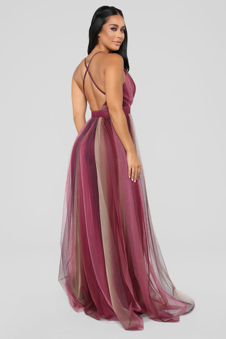 Sweeter Than Honey Tulle Maxi Dress - Purple/Tan