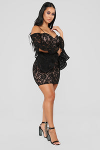Southern Belle Lace Dress - Black/Nude