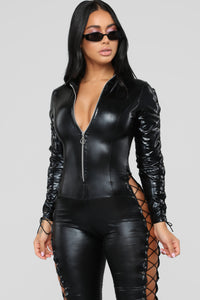 Dark Side Latex Jumpsuit - Black