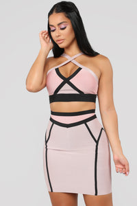 Love On Top Bandage Set - Rose/Taupe Angle 1