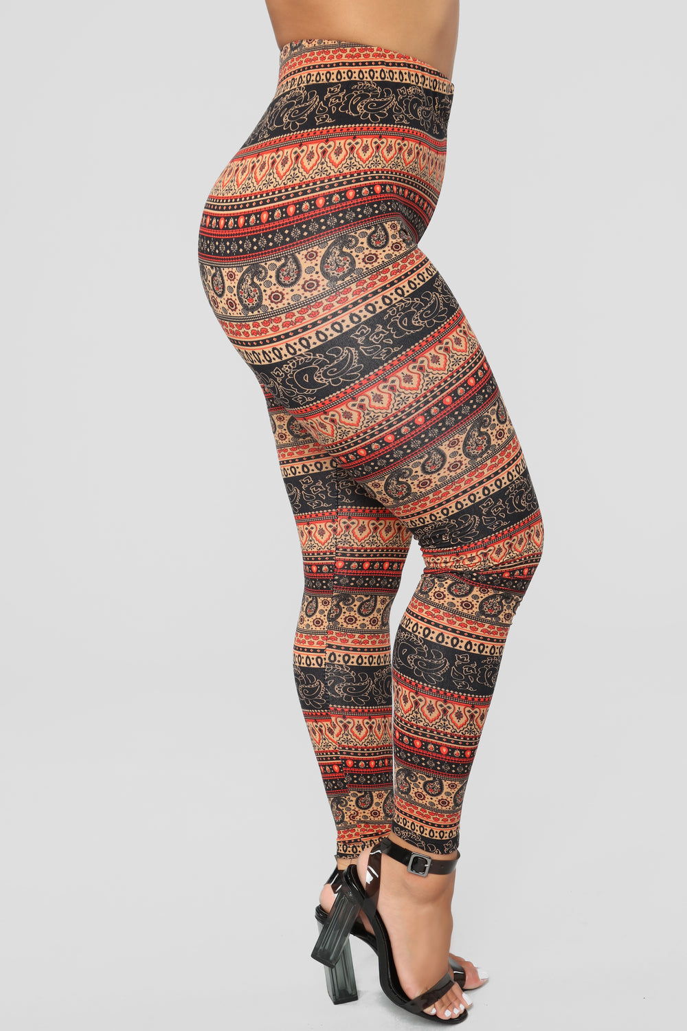 Feel My Vibes Print Leggings - Black Multi