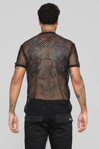 Show Your T's Short Sleeve Mesh Tee - Black