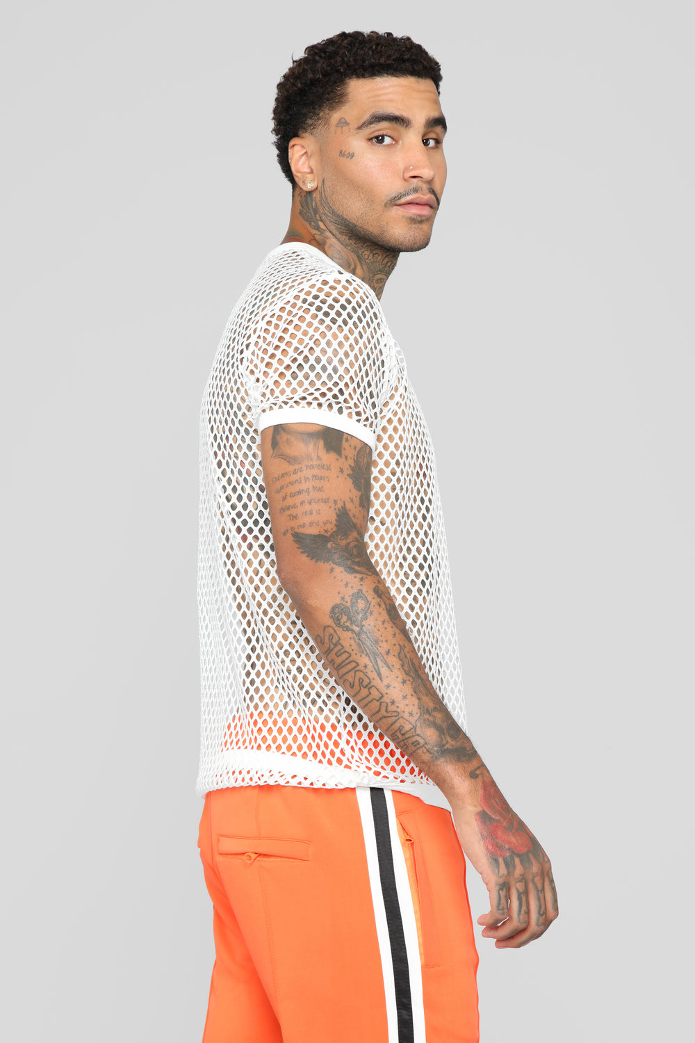 Show Your T's SS Mesh Tee - White