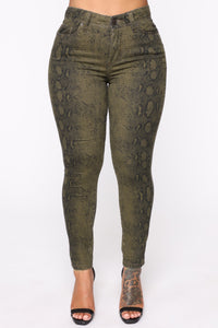 Always On The Move Skinny Pants - Olive/combo