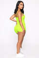 Feeling Flirty Romper - Neon Lime