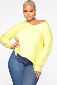Call It A Date Sweater - Neon Yellow Angle 1