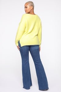 Call It A Date Sweater - Neon Yellow Angle 5
