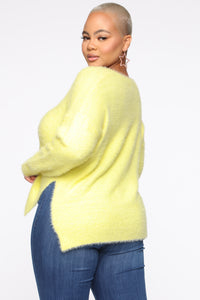Call It A Date Sweater - Neon Yellow Angle 3