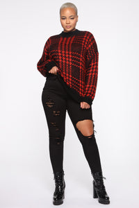 Plaid For You Sweater - Black/Red Angle 7