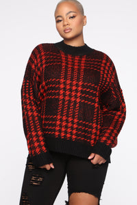 Plaid For You Sweater - Black/Red Angle 6