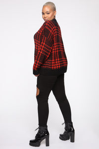 Plaid For You Sweater - Black/Red Angle 9