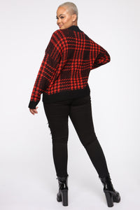 Plaid For You Sweater - Black/Red Angle 10