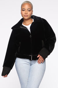 Let's Get Real Faux Fur Moto Jacket - Black