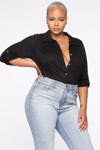 No Room For You Button Down Top - Black