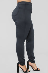Super High Waist Denim Skinnies - Charcoal Angle 10