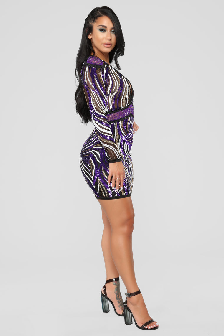 Look So Good Sequin Dress - Purple