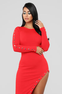 Basketball Wives Rib Dress - Red