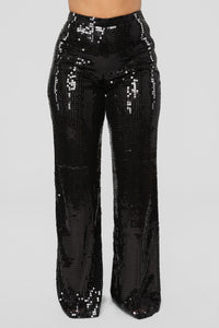 Shining Brighter Than Your Future Sequin Pants - Black