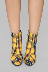 Seriously Cannot Bootie - Yellow Plaid