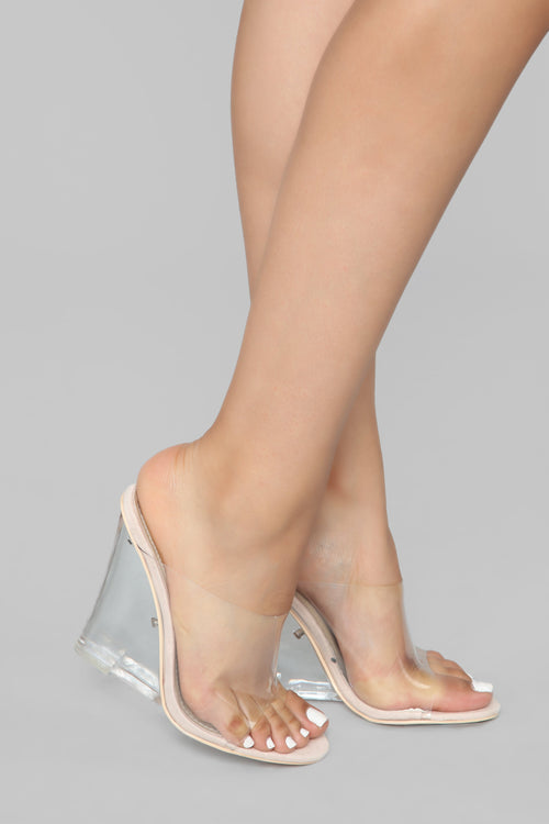 The Glass Edge Heeled Sandal - Nude