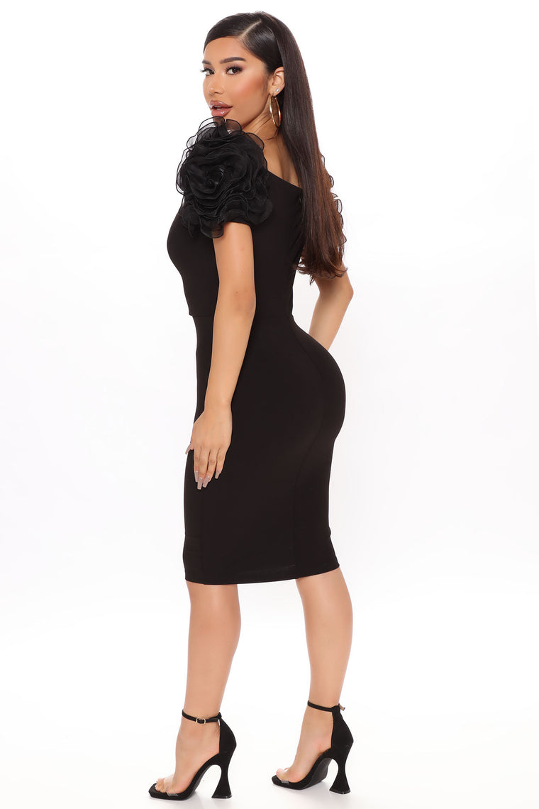 Gotta Lot To Say Midi Dress - Black