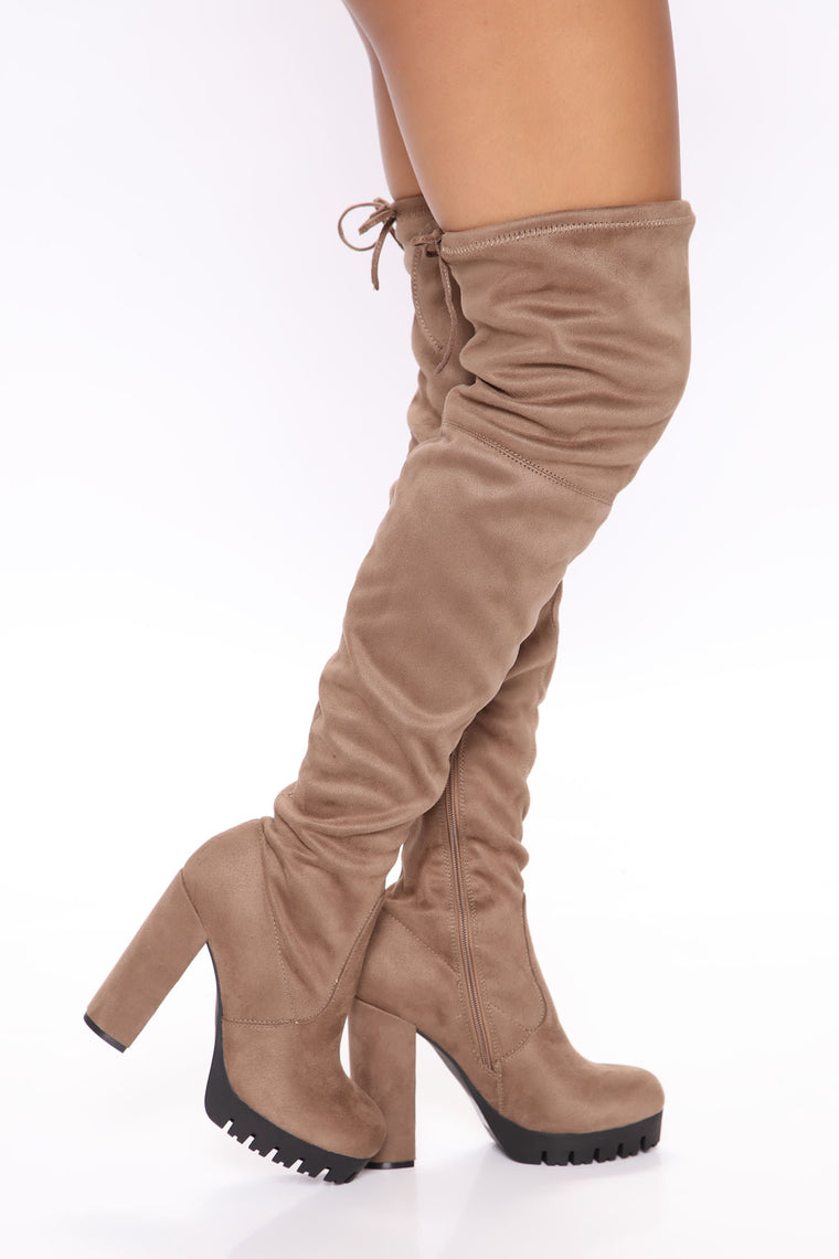 Give It Your All Over The Knee Boots - Taupe