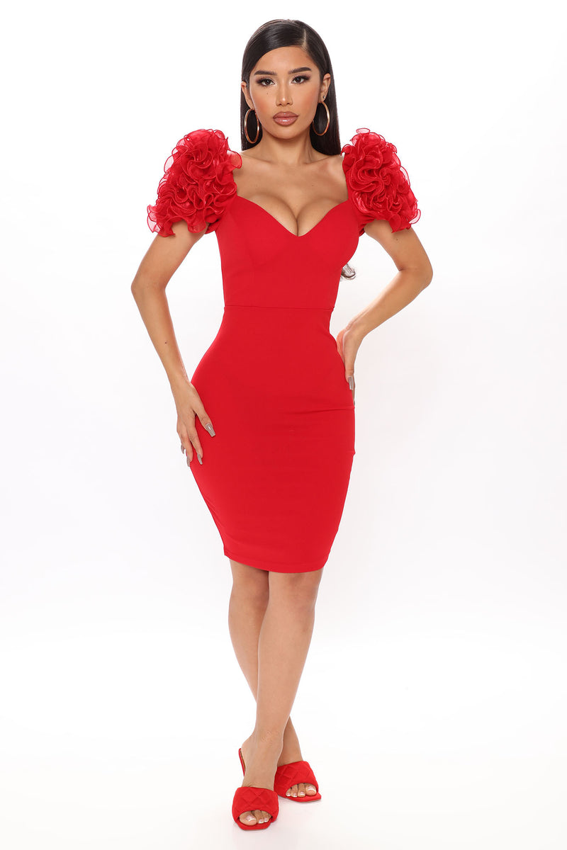 Gotta Lot To Say Midi Dress - Red