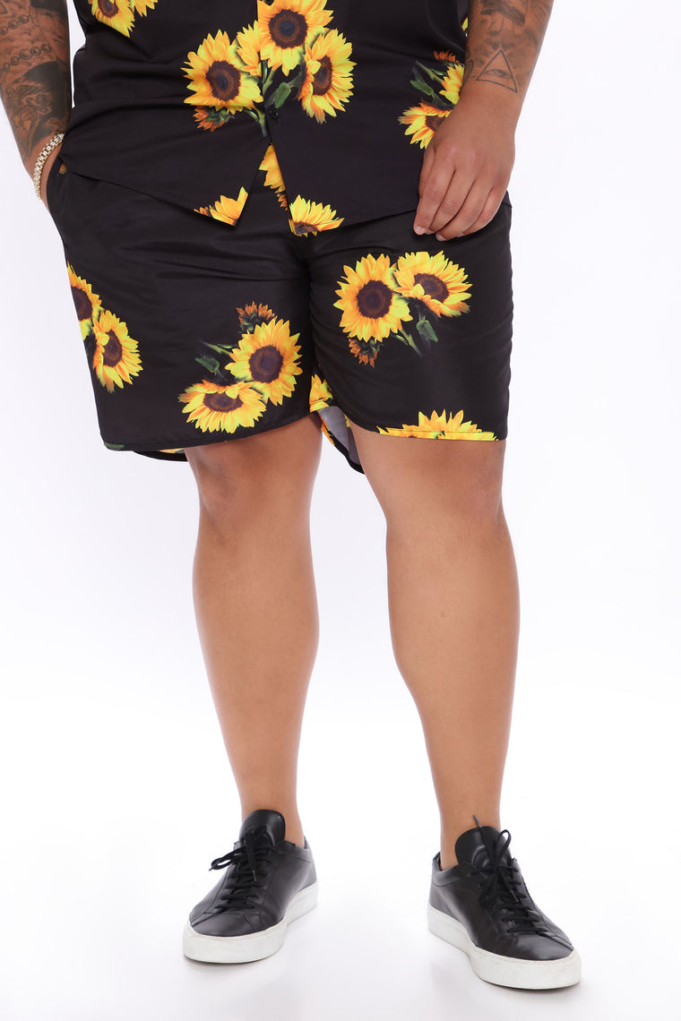 Trippin' Flowers Volley Trunk - Black/Yellow