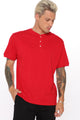 Mason Short Sleeve Henley - Red
