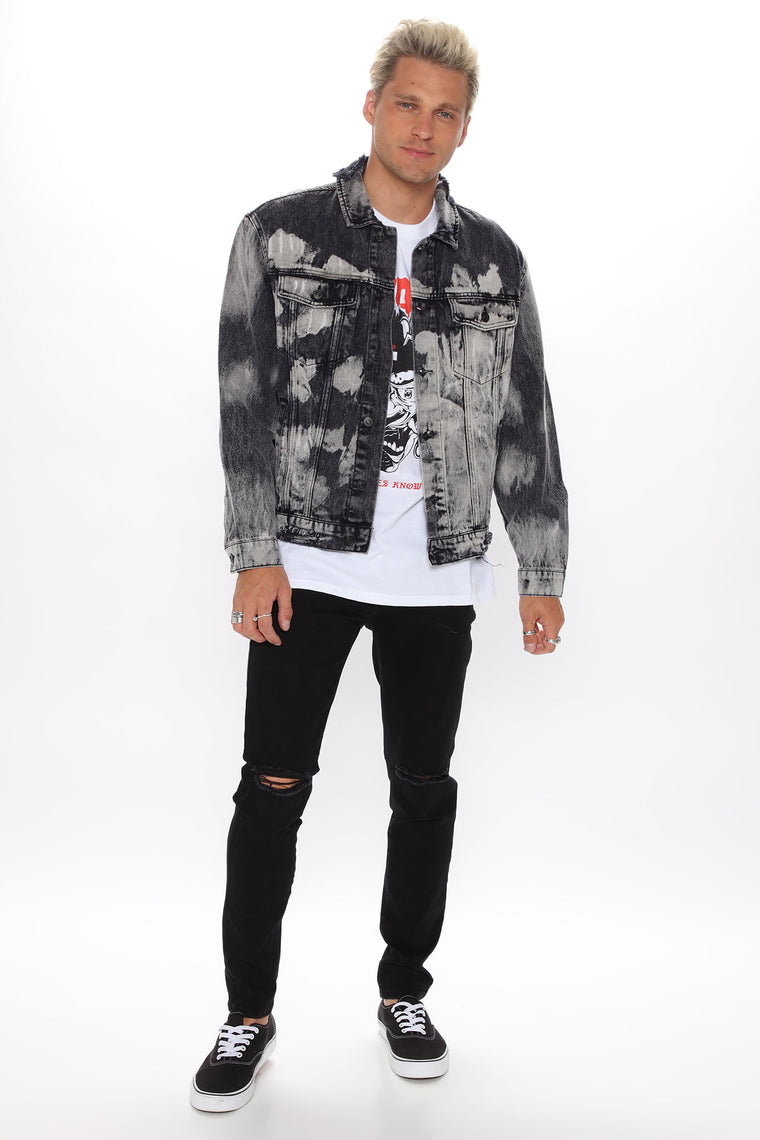 Travis Bleached Denim Jacket - Black