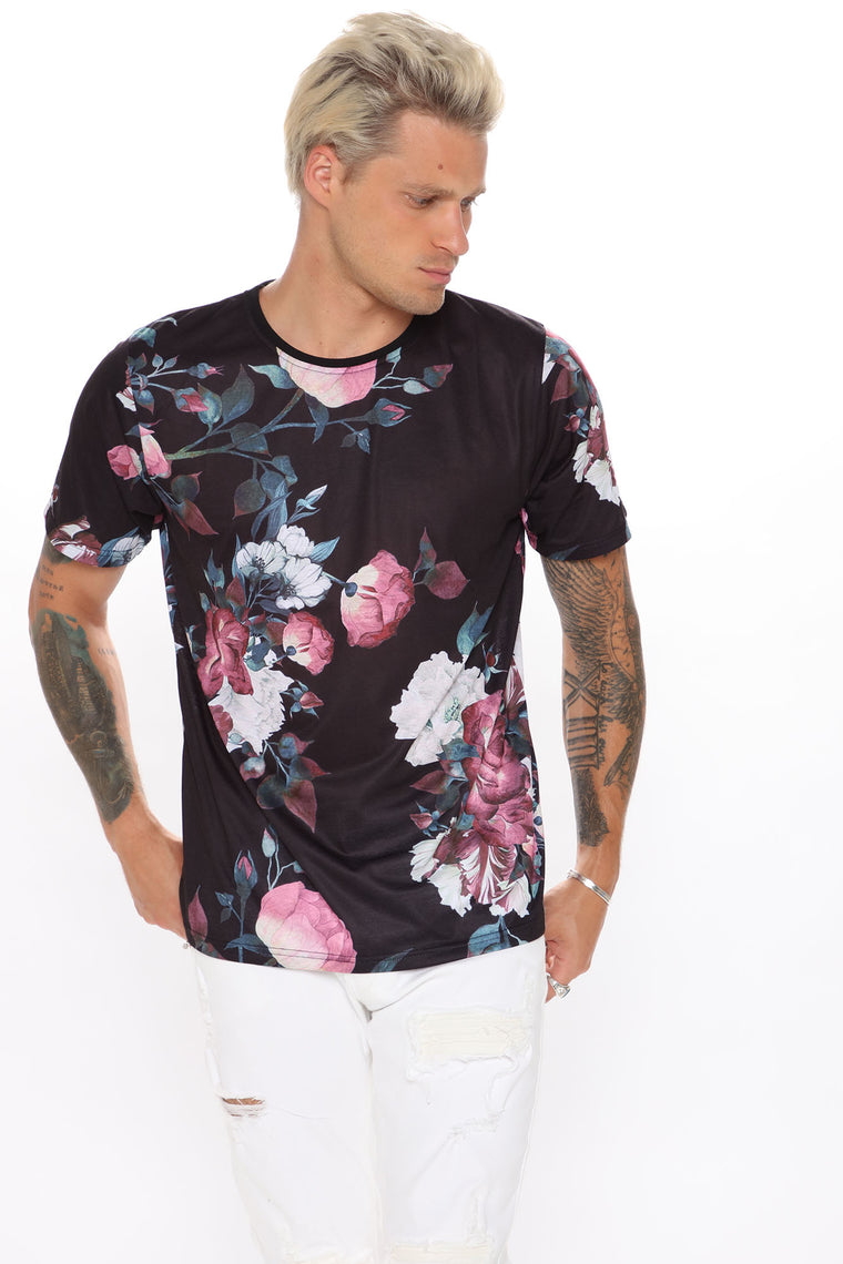 Hold That Thought Short Sleeve Tee - Black/Pink