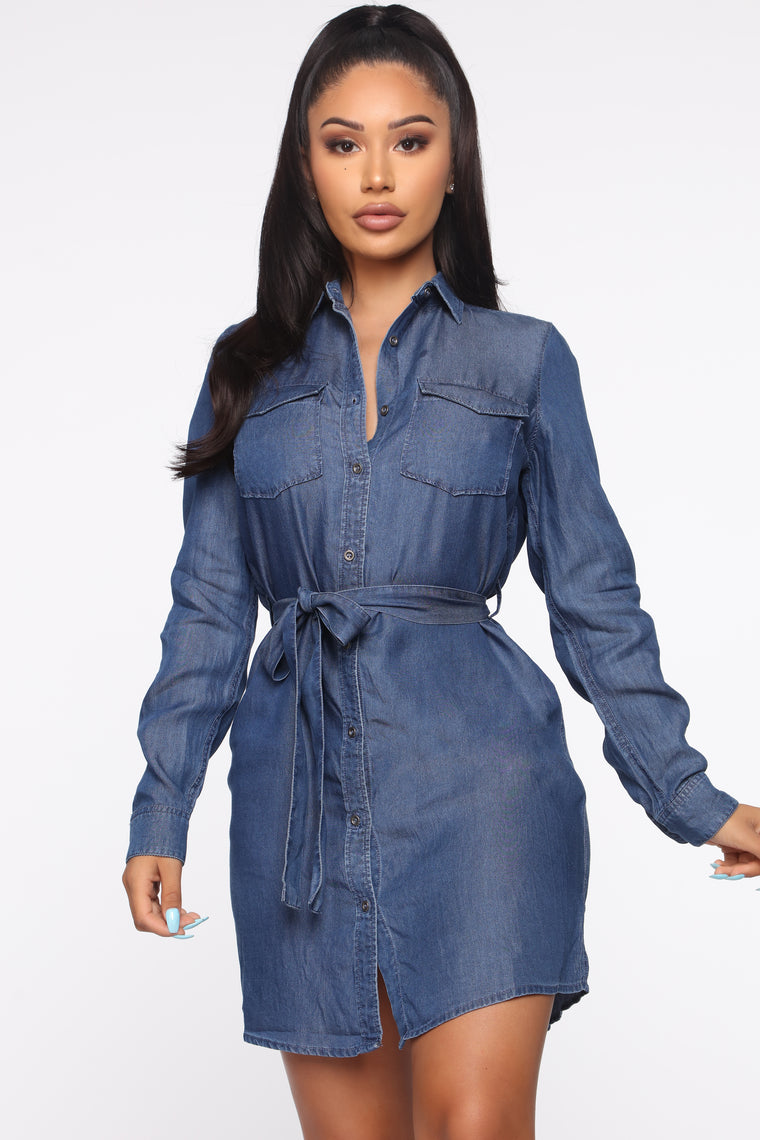 Good Karma Shirt Dress   Dark Wash by Fashion Nova