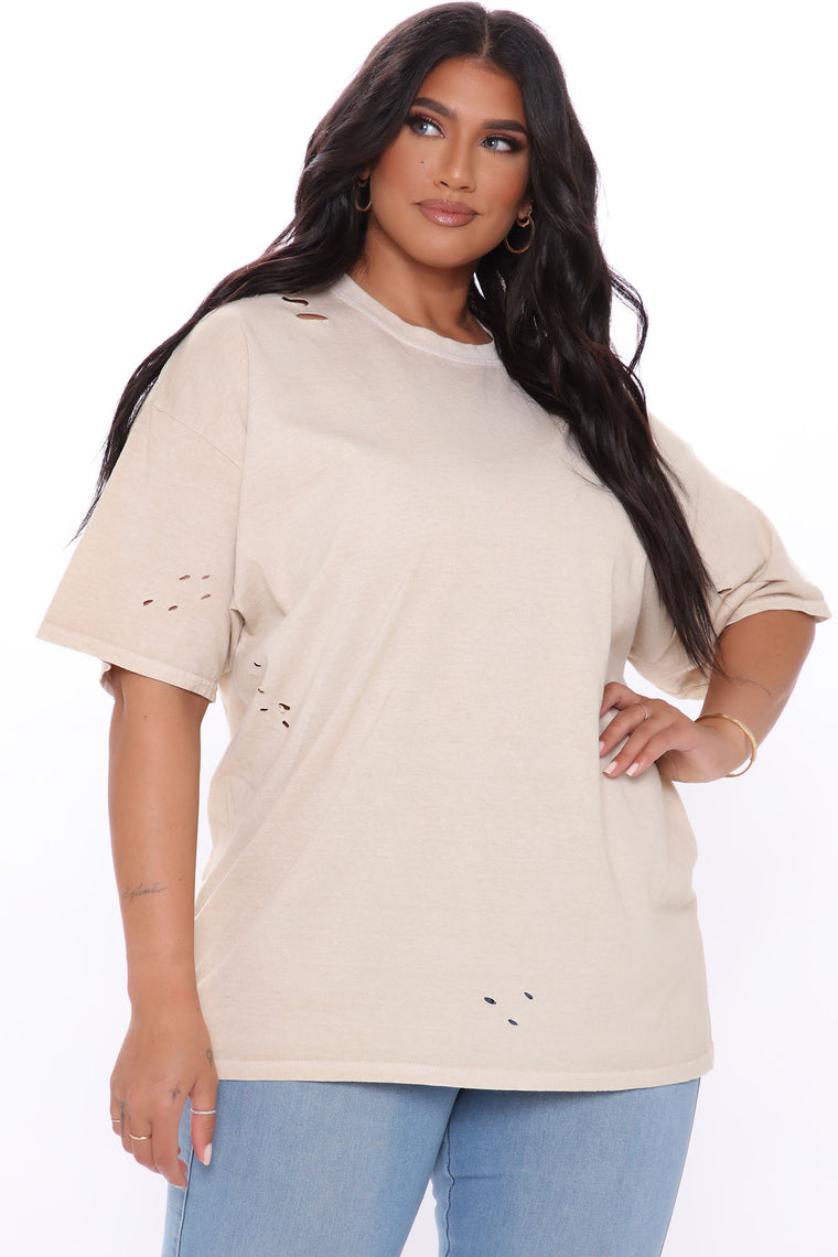 Falling On Hard Times Distressed T Shirt - Taupe