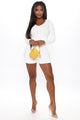 Move Knit Sweater Short Set - White