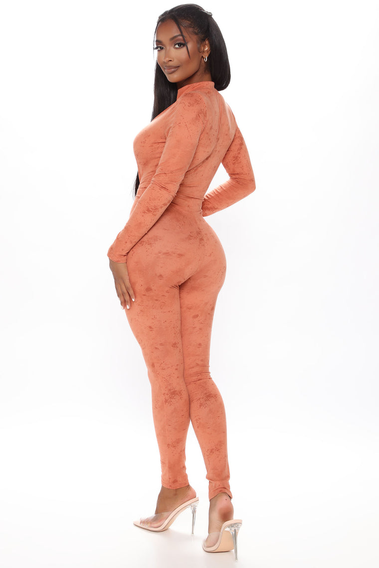 Downtown Mineral Wash Jumpsuit - Rust