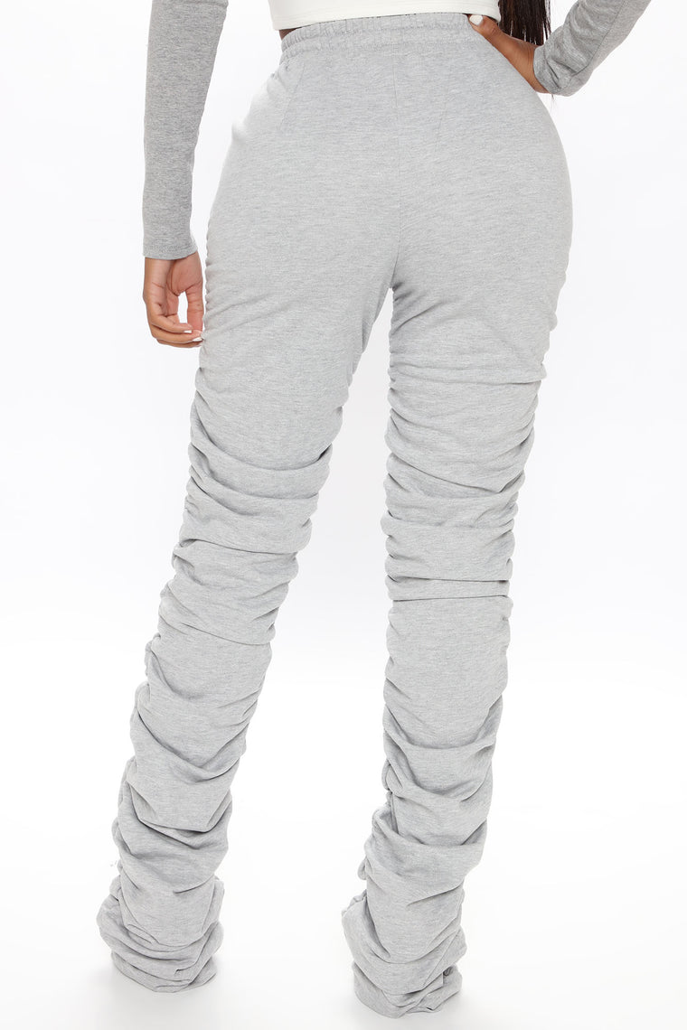 Curves And Chill Stacked Pant - Heather Grey