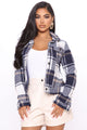 Keep Checkin' Me Out Cropped Jacket - Blue/combo