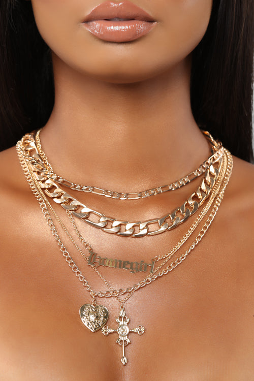 Be My Homegirl Layered Necklace - Gold