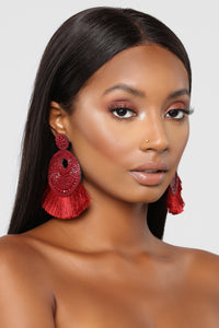 Can You Bead That Earrings - Burgundy