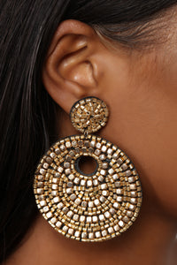 Bead You To The Point Earrings - Gold